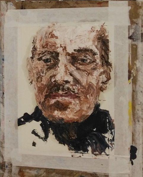 Gesicht, Spachteltechnik, Mann, Ölmalerei