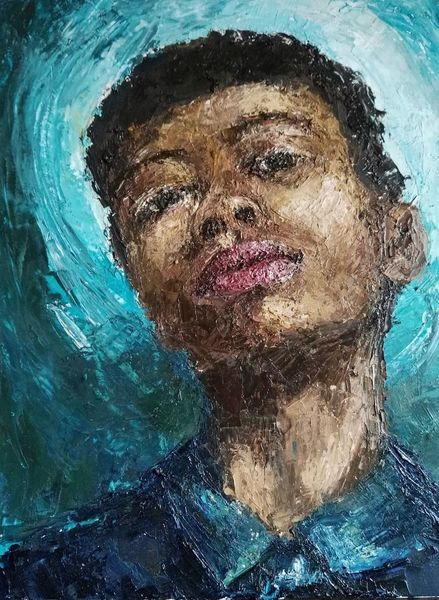 Spachtel, Türkis, Junge, Mode, Portrait, Ölmalerei