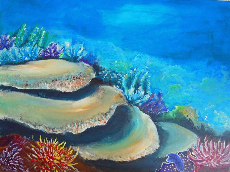 Unterwasser, Korallen, Fantasie, Landschaft, Acrylmalerei, Malerei