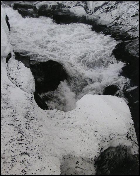 Analog, Schwarzweiß, Lappland, Wildbach, Fluss, Mikkastugan