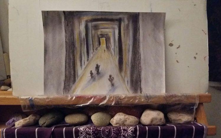 Hoffnung, Zeichnen, Abstrakt, Ausdrucksmalerei, Pastellmalerei, Angst