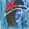 Rose, Blau, Gesicht, Tränen