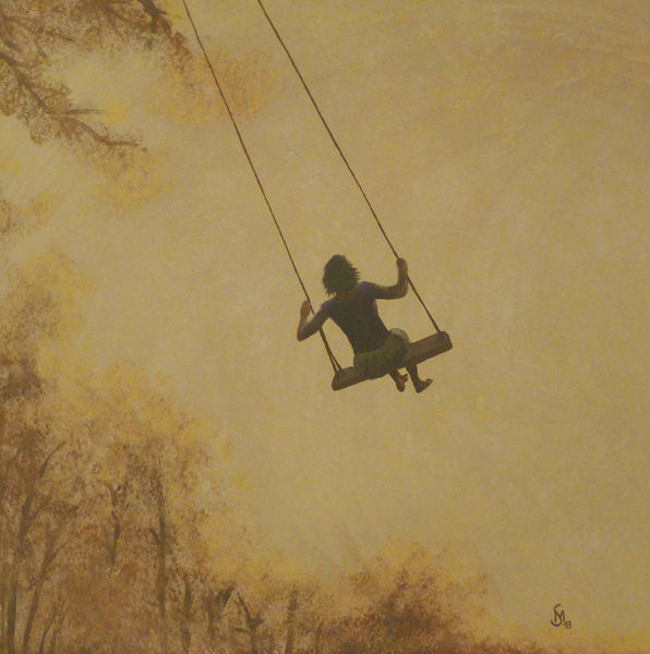 Acrylmalerei, Schaukel, Freiheit, Malerei, Schwung