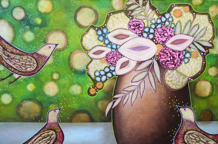 Stillleben, Blumen, Vogel, Malerei
