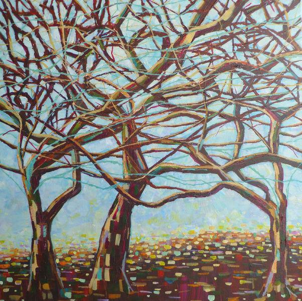 Acrylmalerei, Baum, Landschaft, Äste, Pastellmalerei, Malerei