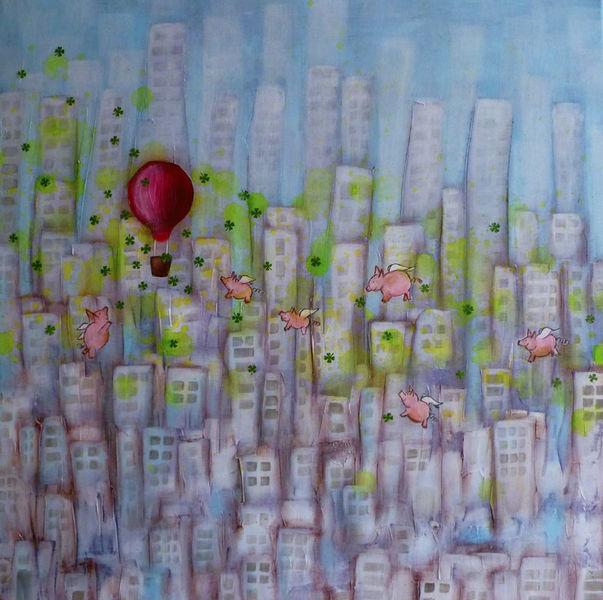 Schwein, Ballon, Glück, Stadt, Hochhaus, Malerei
