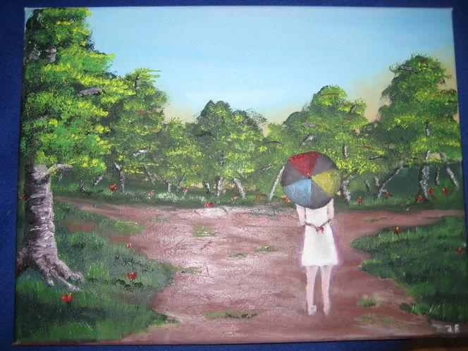 Baum, Regenschirm, Landschaft, Mädchen, Malerei