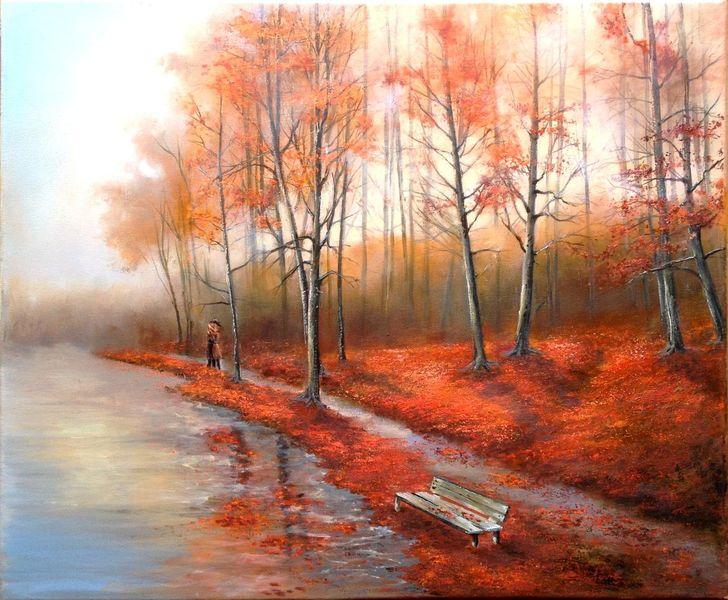 Herbst, Rot, Gold, Bank, Baum, Malerei