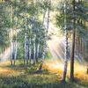 Ölmalerei, Birken, Grün, Sommer
