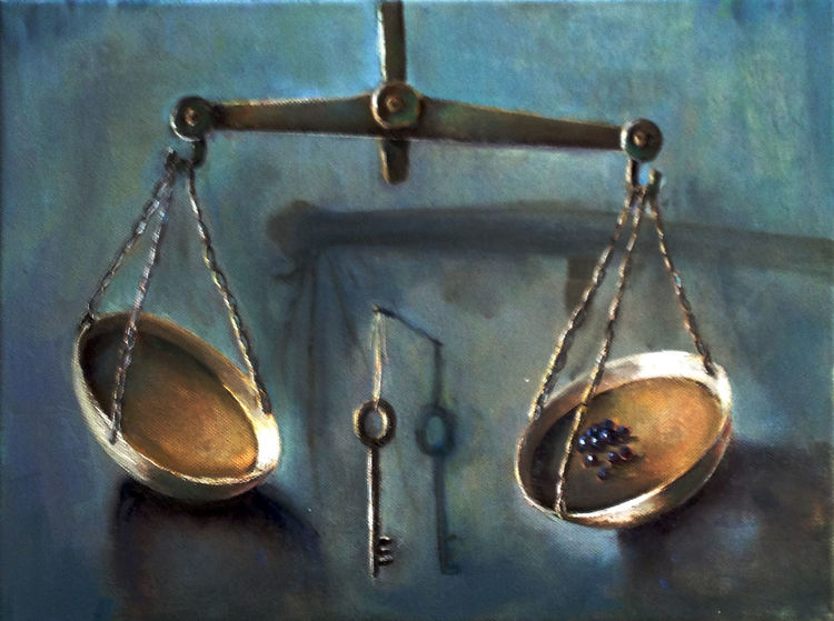 Waage, Licht, Schlüssel, Blau, Ölmalerei, Malerei