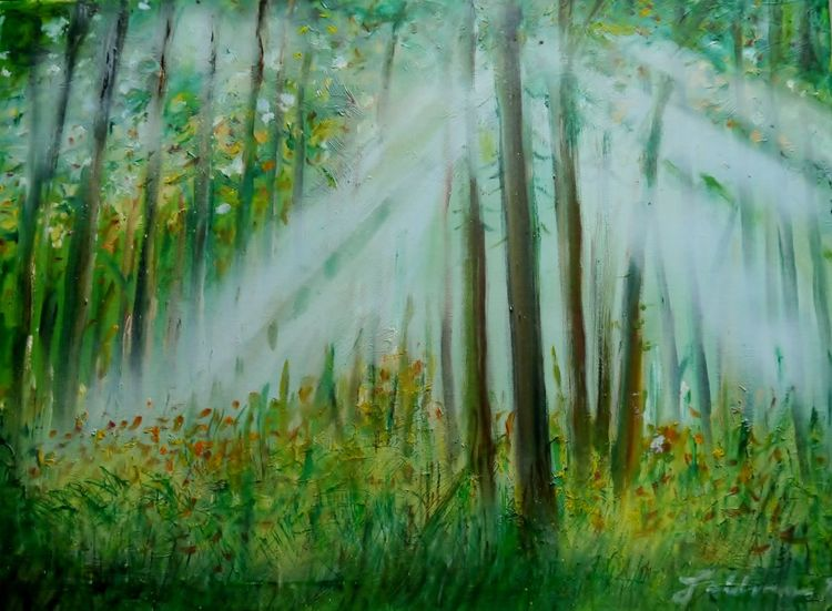 Lichtreflexe, Sommerende, Malerei, Wald
