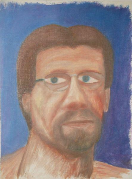 Brille, Bart, Gesicht, Blau, Malerei