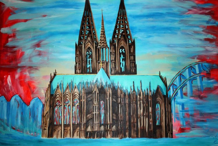 Dom, Bunt, Köln, Blau, Rot, Malerei