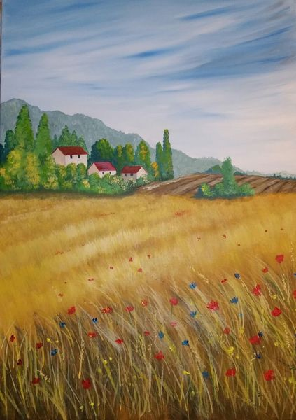 Sommer, Feld, Landschaft, Malerei, Kornfeld