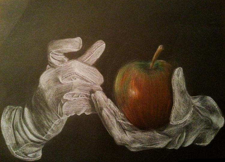 Karton, Weiß, Halt, Apfel, Schwarz, Buntstiftzeichnung