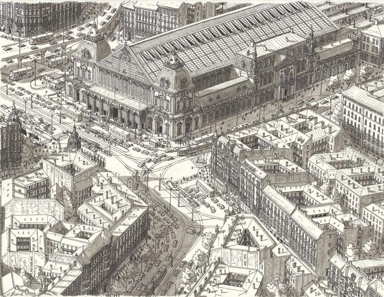 Budapest, Schwarz, Stadt, Architektur, Bahnhof, Realismus