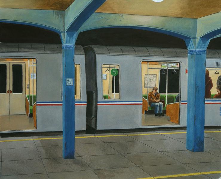 New york, Malerei, Bahn, Gemälde, Metro, Realismus