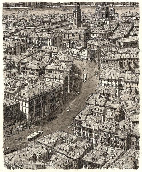 Zeichnung, Landschaft, Architektur, Venedig, Realismus, Wasserfarben