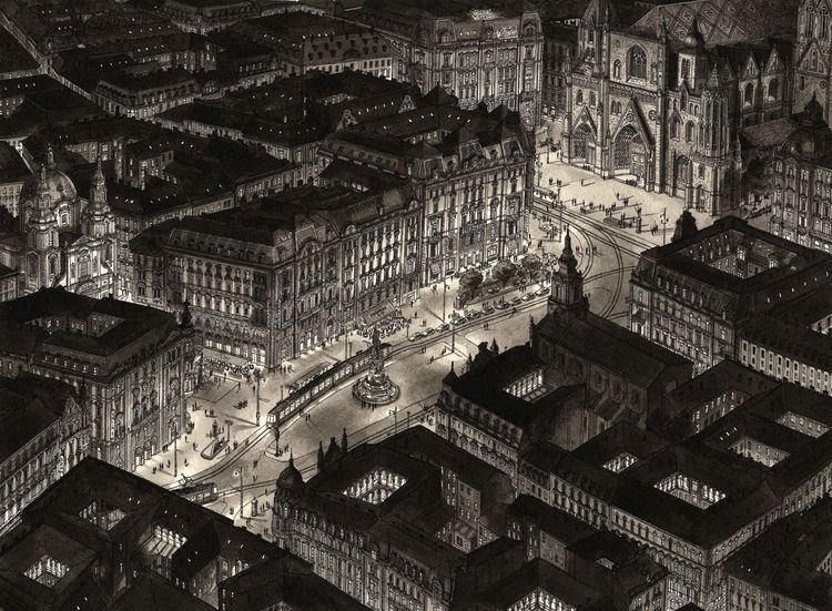 Nacht, Tuschmalerei, Schwarz, Aquarellmalerei, Wien, Architektur