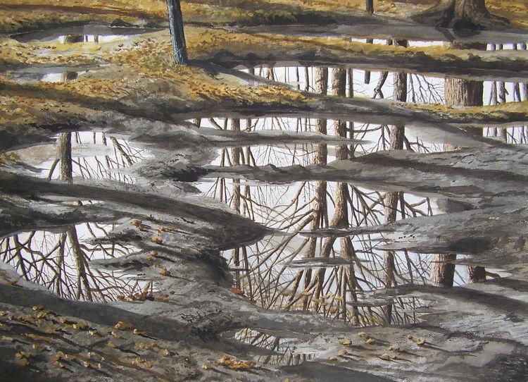 Realismus, Aquarellfarben, Regen, Wasserfarben, Wald, Malerei