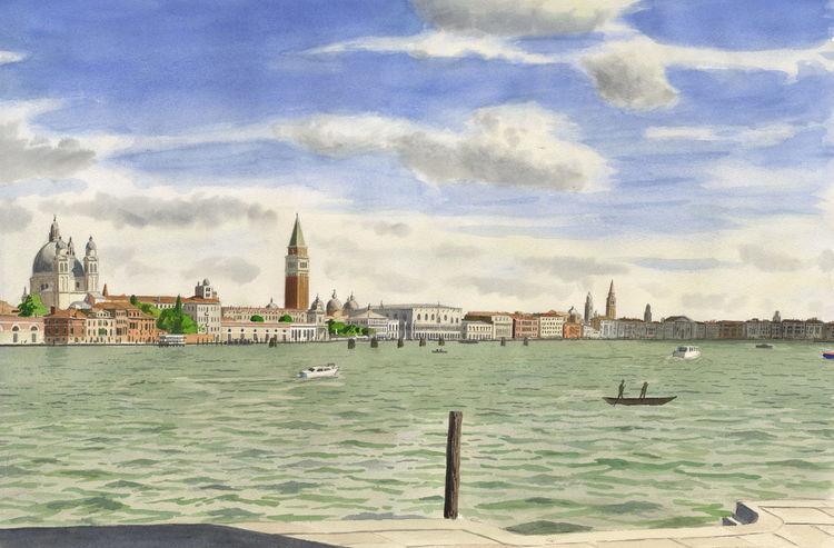 Venedig, Farben, Italien, Blau, Stadtlandschaft, Aquarellmalerei