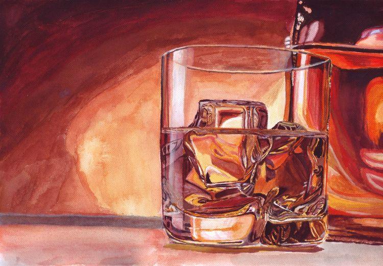 Glas, Whisky, Flasche, Spiegelung, Eis, Malerei