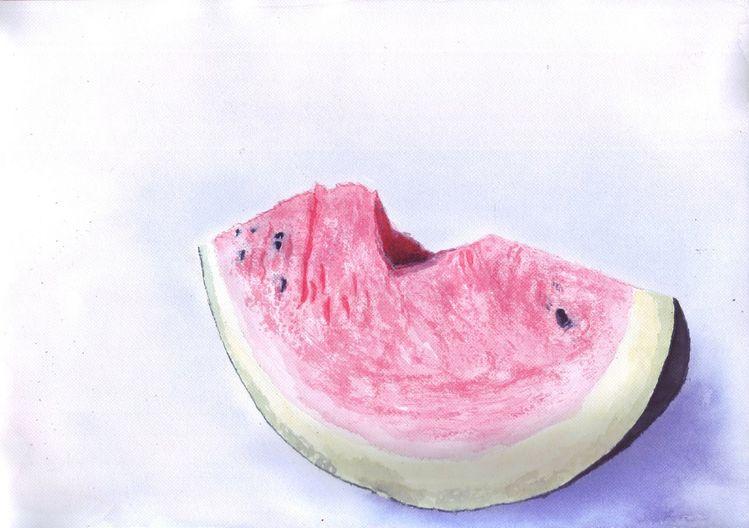 Stück, Melone, Wassermelone, Kern, Malerei,