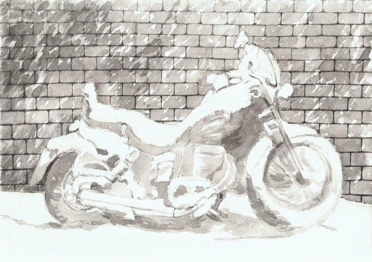 Schwarz weiß, Tuschmalerei, Zeichnung, Motorrad, Zeichnungen, Alte werke