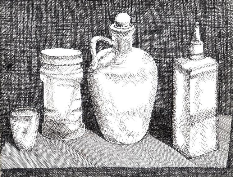 Flasche, Schraffur, Tusche, Becher, Schwarz weiß, Tisch