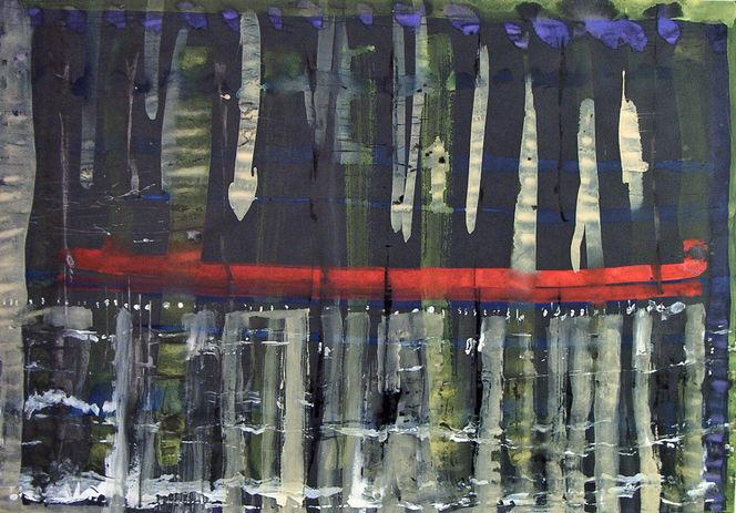 Rot schwarz, Weiß, Blau, Gelb, Tuschmalerei, Aquarell