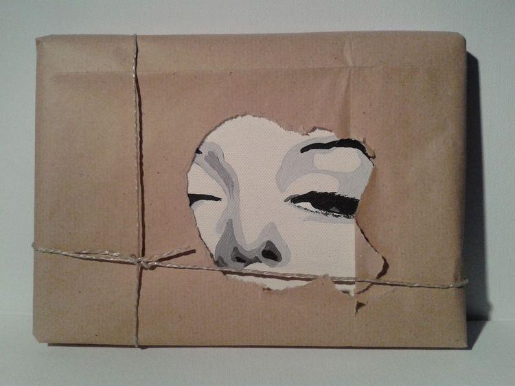 Verpackung, Geschenkidee, Objekt, Satire, Portrait, Acrylmalerei