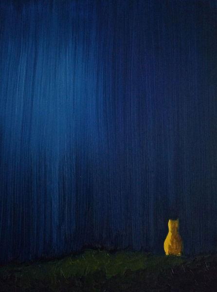 Nacht, Mond, Ölmalerei, Einsamkeit, Landschaft, Katze