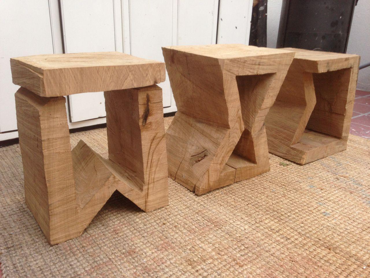 Eichenhocker Eichen Holz Kettensage Skulptur Von Stefan Merz