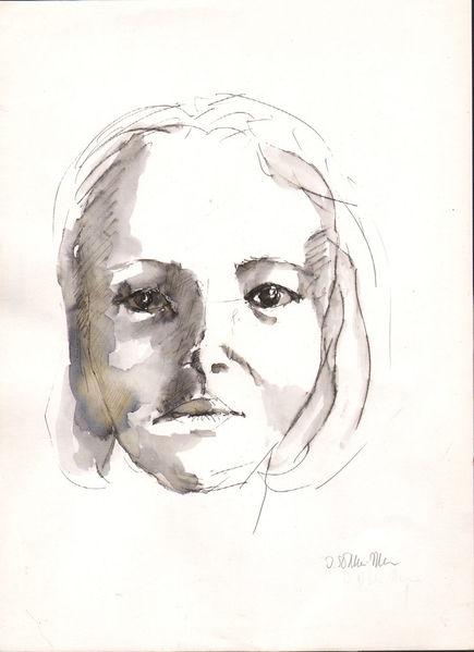 Portrait, Grafik, Aquarellierte zeichnung, Frauenportrait, Frauengesicht, Zeinung