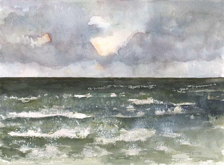 Nordsee, Ostfriesland, Aquarellmalerei, Meer, Gischt, Landschaft