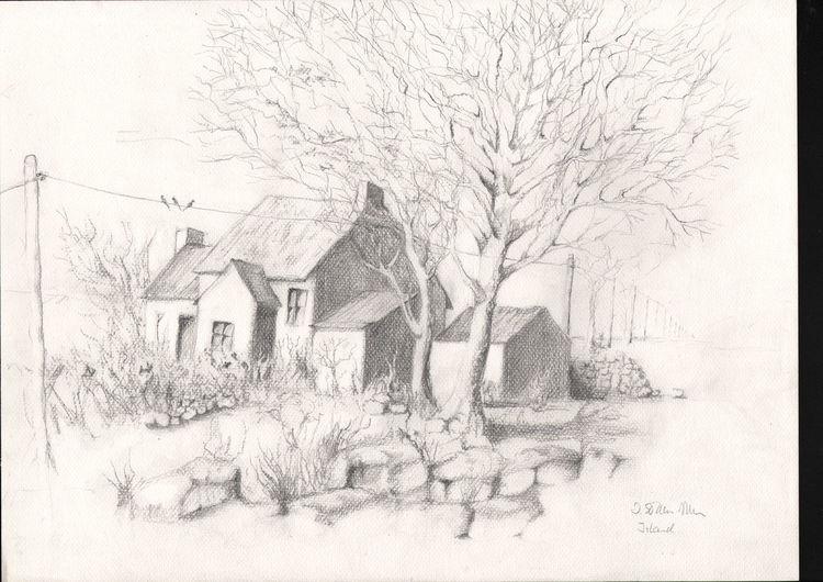 Schatten, Winter, Landschaft, Grafik, Kotten, Baum