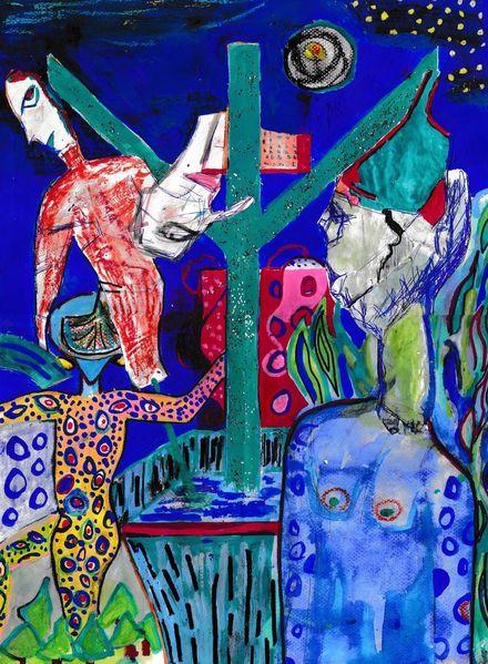 Visionäre kunst, Nordische mythologie, Runen, Blau, Mythologie, Mischtechnik