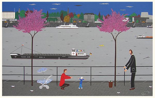 Spaziergang rhein bonn, Malerei, Spaziergang, Blick, Rhein