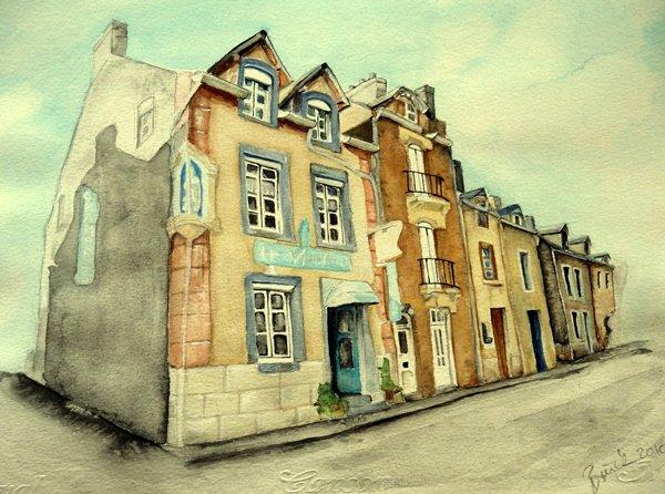Aquarell, Bretagne, Straße