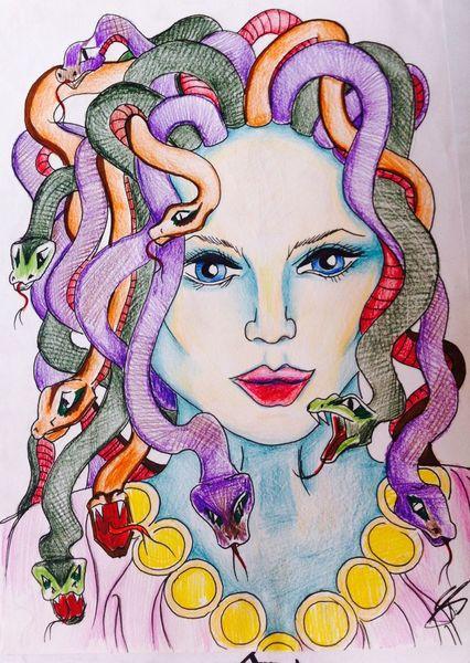Comic, Zeichnung, Medusa, Mystik, Bleistiftzeichnung, Bunt