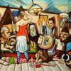 Gouachemalerei, Malerei, Familie,
