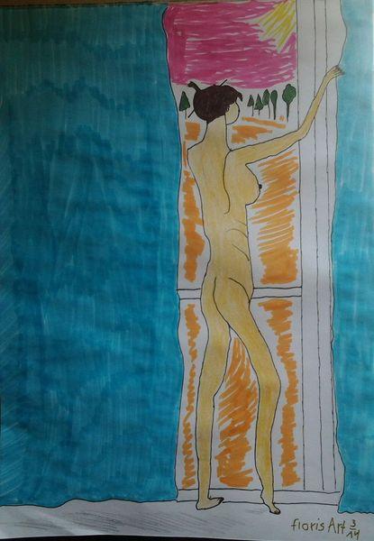 Fenster, Akt, Frau, Malerei
