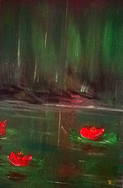 Regenwald, Biotop, Seelilien, Malerei