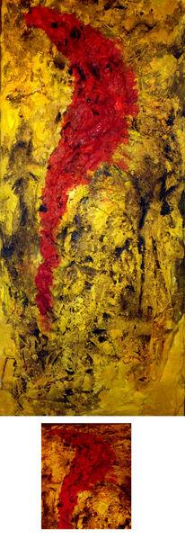 Rose, Riss, Rot, Struktur, Gelb, Mischtechnik