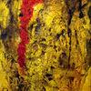 Struktur, Rot, Gelb, Spachteltechnik
