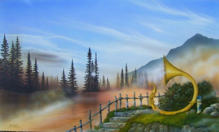 Nebelhorn, Wald, Licht, Malerei, Mischtechnik