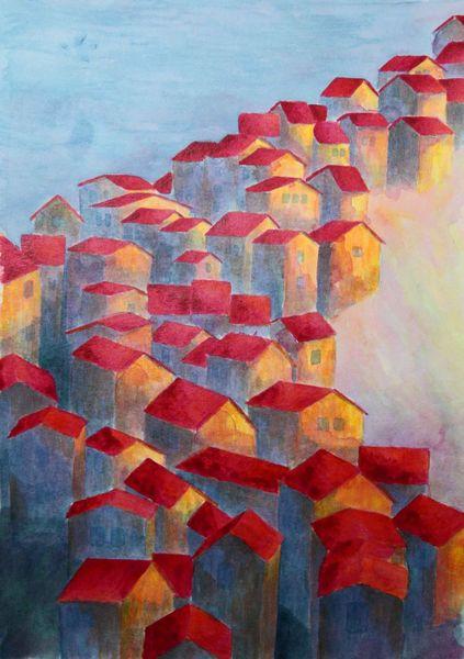 Malerei, Dorf, Abendrot