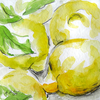 Lemon, Zitrone, Obst, Aquarell