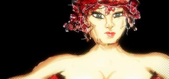 Rot frau gesicht, Digitale kunst, Digital bearbeitet, Barbie