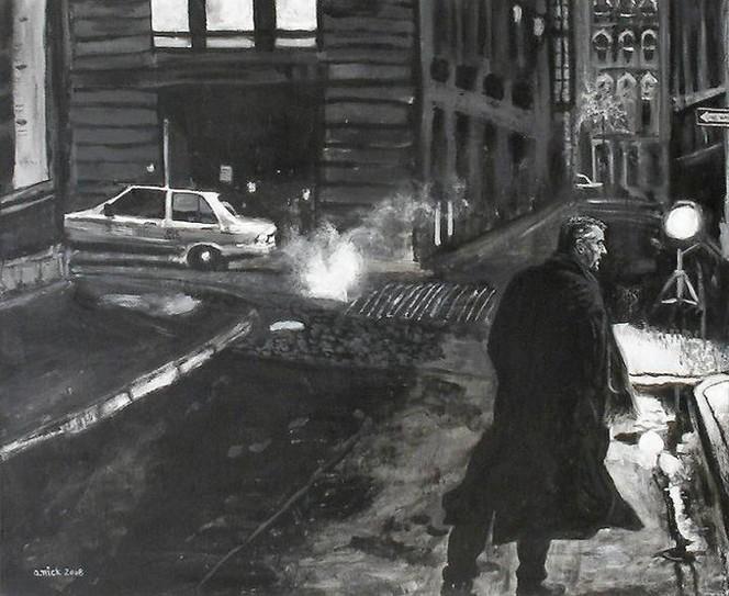 Straße, Schwarz weiß, Niro, Malerei, Menschen,